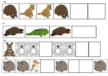 Australian Animals Theme Patterning Math Activities & Worksheets K-2