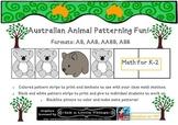 Australian Animals Theme Patterning Math Activities & Work