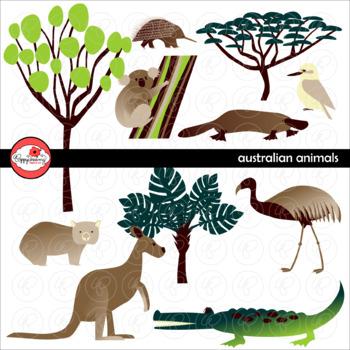 Australian Animals & Trees Clipart by Poppydreamz