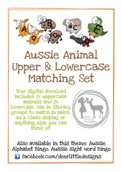 Australian Animals Upper & Lowercase Alphabet Matching Set