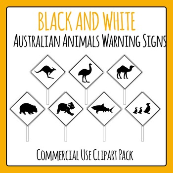 Australian Animals Warning Signs Commercial Use Black and White Clip Art