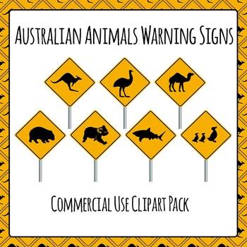 Australian Animals Warning Signs Commercial Use Clip Art