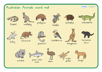 Australian Animals Word Mat Australia By Twinkl