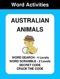 Australian Animals - Word Search, Word Scramble,  Secret C