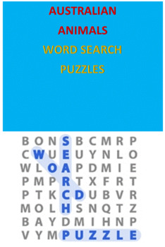 Australian Animals Word Searches