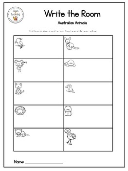 Australian Animals {Write the Room}