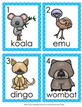 Australian Animals Write the Room Activity
