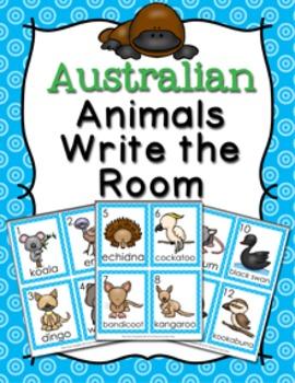 Australian Animals Write the Room Activity