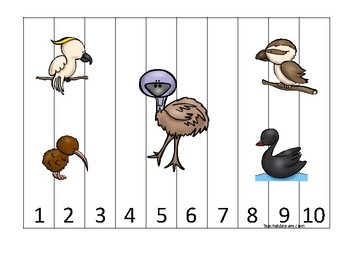 Australian Animals themed 1-10 Number Sequence Puzzle Game. Printable Preschool