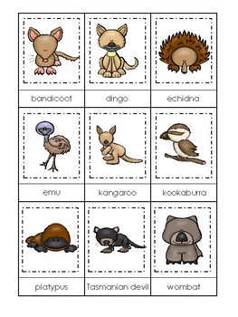 photo relating to Animal Matching Game Printable known as Australian Pets themed 3 Element Matching Video game. Printable Preschool Match