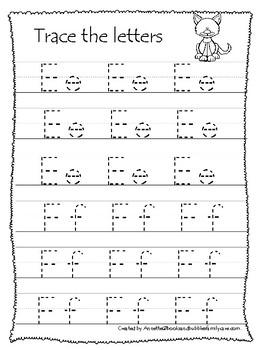 Australian Animals themed A-Z Tracing Worksheets.Printable Preschool Handwriting