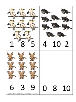 Australian Animals themed Count and Clip Game.  Printable Preschool Game
