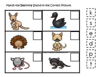 Australian Animals themed Match the Beginning Sound Game. Printable Preschool Ga