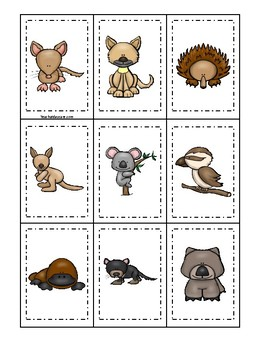 Australian Animals themed Memory Match Game. Printable Preschool Game