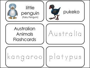 Australian Animals themed Picture Word Flash Cards.