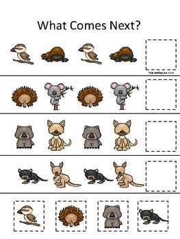 Australian Animals themed What Comes Next. Printable Preschool Game