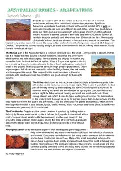 Australian Biomes - Animal and Plant adaptions