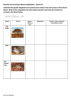 Australian Biomes - Animal and Plant adaptions