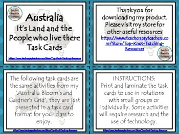 Australian Blooms and Gardner Grid with task cards