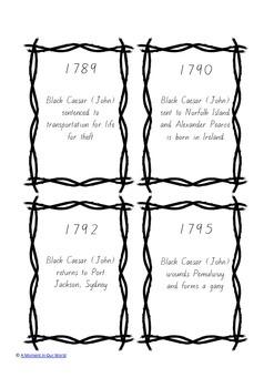 Australian Bushrangers Timeline Cards