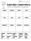 Australian Celebrations Calendar Worksheet