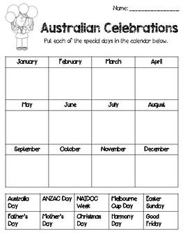 Australian Celebrations Calendar Worksheet