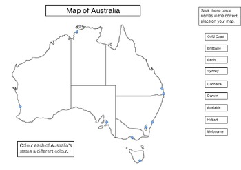 Map Of Australia Labelled.Australian Cities Mapping Activity