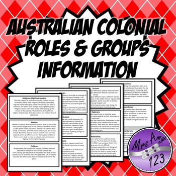 Australian Colonial Roles and Groups