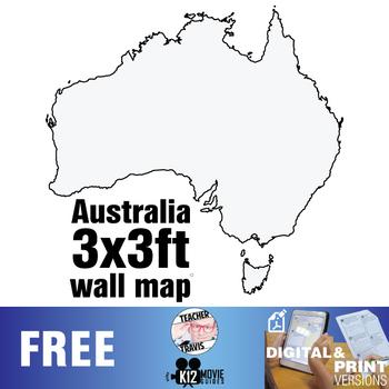 Australian Continent Wall Map (3x3ft)