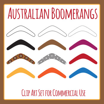 Australian Culture - Boomerang Template Clip Art Set for Commercial Use