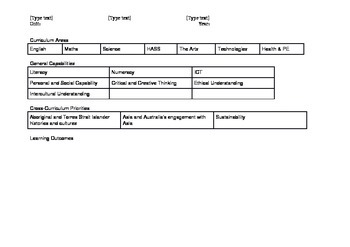 Australian Curriclum Unit Planner