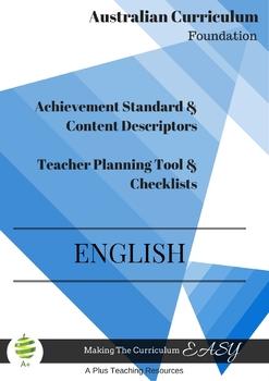 Australian Curriculum Achievement Standard & Curriculum Checklists ENGLISH K/PP