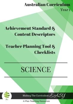Australian Curriculum  Achievement Standard & Curriculum Checklists  SCIENCE  Y1