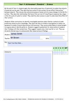 Australian Curriculum  Achievement Standard & Curriculum Checklists  SCIENCE  Y4