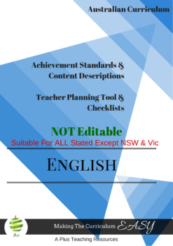Australian Curriculum Achievement Standard & Curriculum Tracker -Y1 ENGLISH
