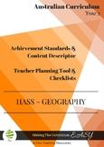 Australian Curriculum Achievement Standard & Curriculum Tracker - Y3 GEOGRAPHY