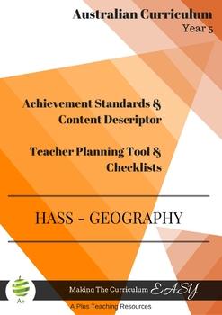 Australian Curriculum Achievement Standard & Curriculum Tracker - Y5 GEOGRAPHY