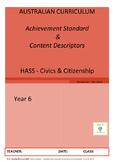 Australian Curriculum Achievement Standard & Curriculum Tracker - Y6 CIVICS