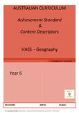 Australian Curriculum Achievement Standard & Curriculum Tracker - Y6 GEOGRAPHY