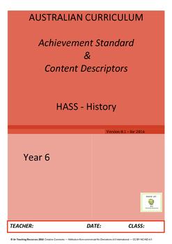 Australian Curriculum Achievement Standard & Curriculum Tracker - Y6 HISTORY