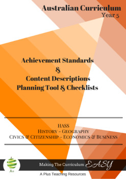 Australian Curriculum HASS - Planning Tool & Checklists BUNDLE - Year 5