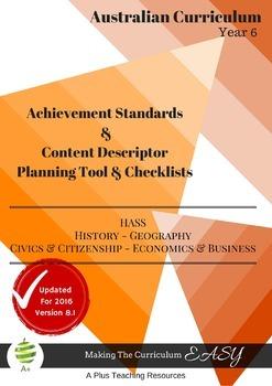 Australian Curriculum HASS - Planning Tool & Checklists BUNDLE - Year 6