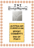 Australian Curriculum Physical Education Report Comments End of Year 4