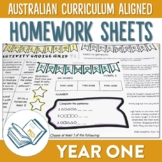 Australian Curriculum Aligned Year 1 Homework Sheets