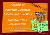 Australian Curriculum Assessment Check-lists Bundle - F-2   2016 VERSION