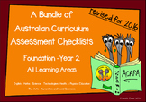 Australian Curriculum Assessment Check-lists Bundle - F-2