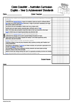 Australian Curriculum Assessment Check-lists for Year 3 - 2016 VERSION