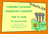 Australian Curriculum Assessment Check-lists for Year 3 -
