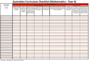 Australian Curriculum Assessment Checklist - Year 4