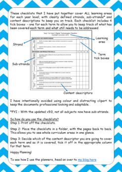Australian Curriculum Checklists BUNDLE - Years Foundation to 2 (version 8.3)